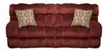 "Siesta POWER Lay Flat Reclining Sofa in ""Wine"" Color Fabric by Catnapper - 61761-W"