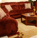 "Siesta 3 Piece POWER Lay Flat Reclining Sectional in ""Wine"" Color Fabric by Catnapper - 61761-W-SEC"