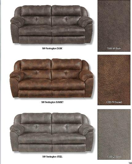 Ferrington Power Lay Flat Reclining Living Room Set Dusk: Ferrington Power Headrest Power Lay Flat Reclining Sofa In