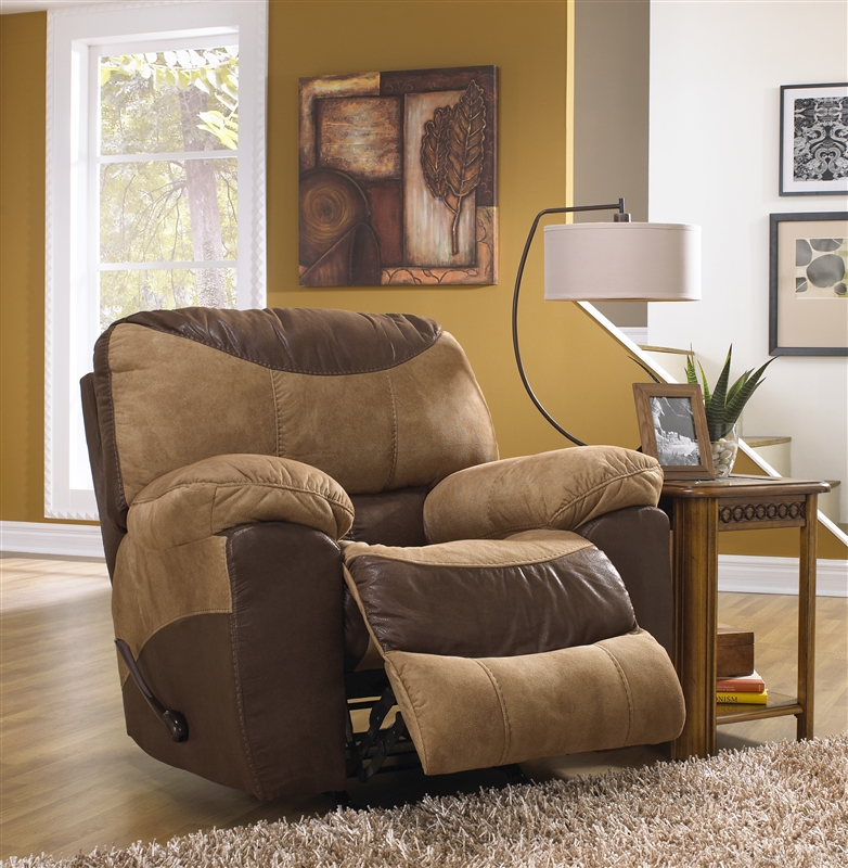 Portman 2 Piece POWER Reclining Sofa, Loveseat Set In Two Tone Chocolate  And Saddle Fabric By Catnapper - 6196-2
