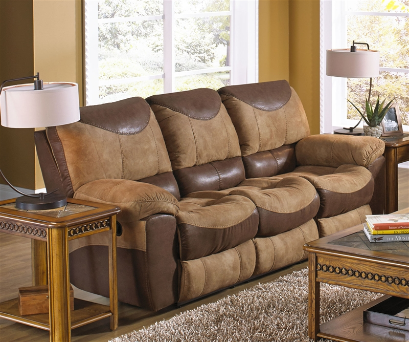 Portman Power Reclining Sofa In Two Tone Chocolate And
