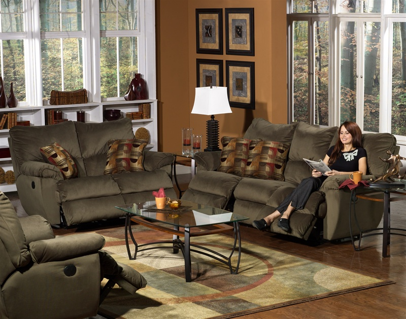 Prism 2 Piece Power Reclining Sofa Set In Mocha Suede Fabric By Catnapper    6221 S