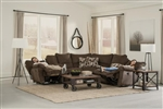 Elliott Power Lay Flat Reclining Sectional in Chocolate Chenille Fabric by Catnapper - 6225-CH