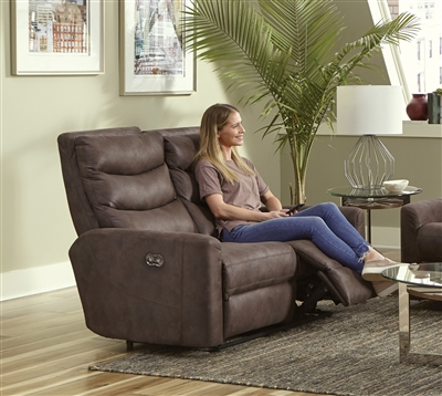 Gill Power Reclining Loveseat in Chocolate Fabric by Catnapper - 62642