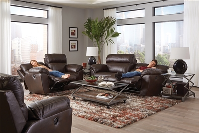Costa 2 Piece Power Lay Flat Reclining Sofa Set in Chocolate Color Leather by Catnapper - 6407-SET-CH