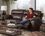 Costa Power Lay Flat Reclining Sofa in Chocolate Color Leather by Catnapper - 64071-CH