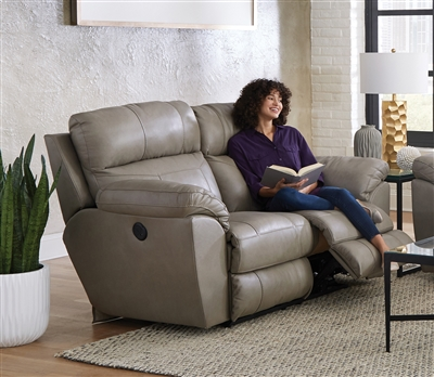 Costa Power Lay Flat Reclining Loveseat in Putty Color Leather by Catnapper - 64072-P