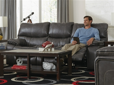 Camden Power Lay Flat Reclining Sofa in Steel Color Leather Like Fabric by Catnapper - 64081-ST