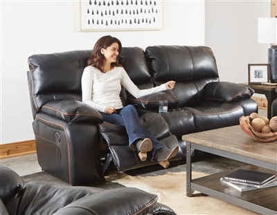 Camden Power Lay Flat Reclining Console Loveseat in Black Color Leather Like Fabric by Catnapper - 64089-BLK
