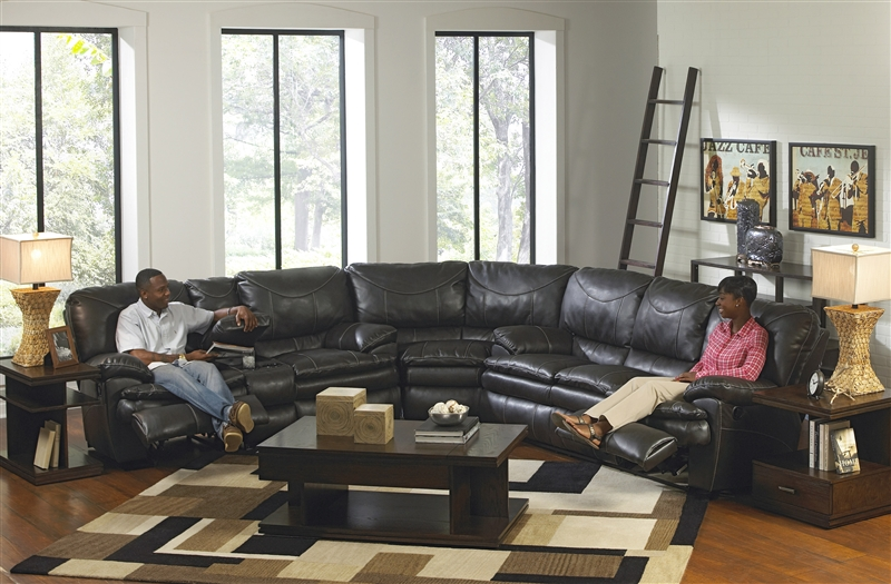 Perez 3 Piece Leather Power Reclining Sectional by Catnapper - 64141-SEC