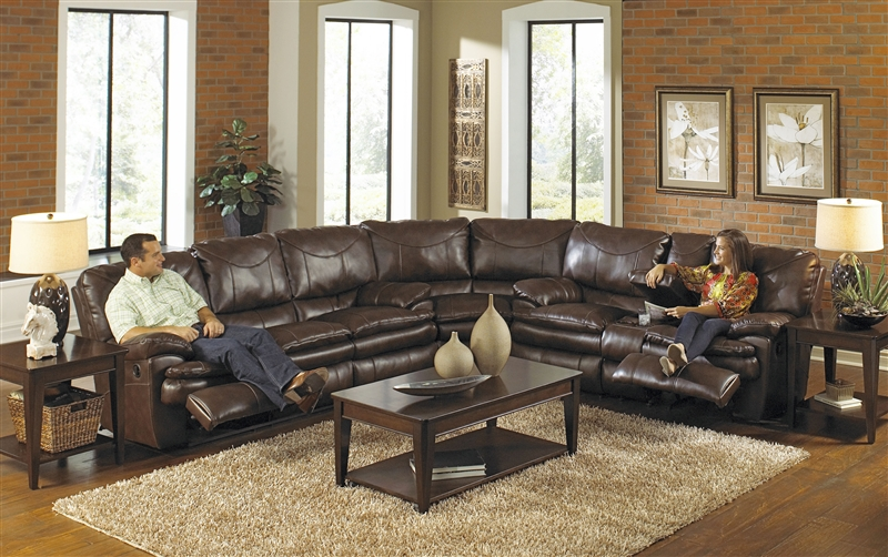 Perez 3 Piece Leather Power Reclining Sectional by Catnapper - 64141-SEC : brown reclining sectional - Sectionals, Sofas & Couches