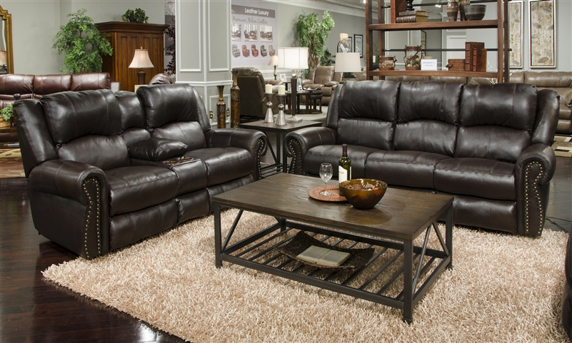 Messina 2 Piece Power Reclining Sofa Set In Chocolate Leather By Catnapper    6422 CH