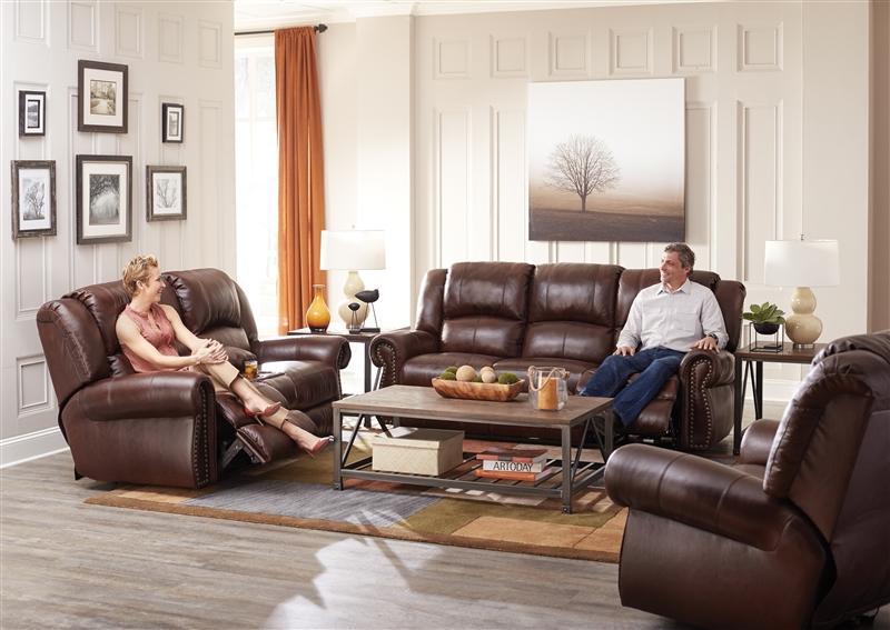 Messina 2 Piece Power Reclining Sofa Set In Walnut Leather By Catnapper    6422 W