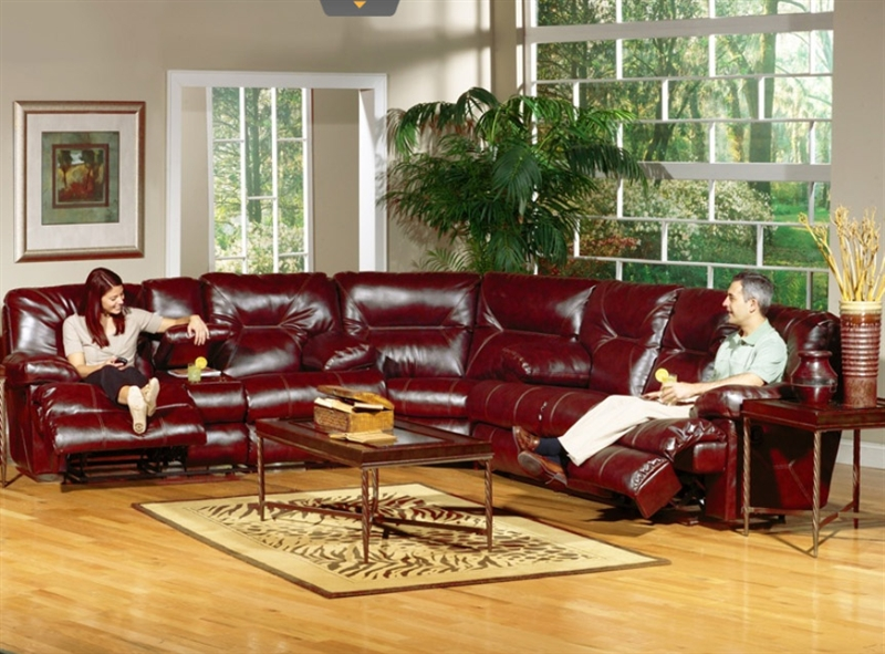 Cortez 3 Piece Reclining Sectional In Dark Red Leather By Catner 64291 Sec R