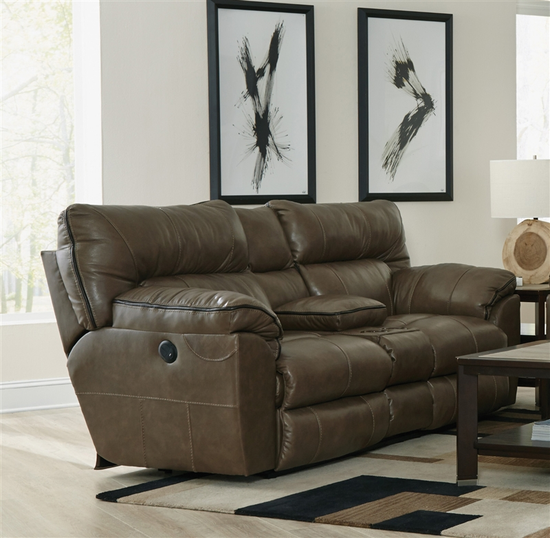 Italian Leather Sofa By Cake: Milan Power Reclining Console Loveseat In Smoke Leather By