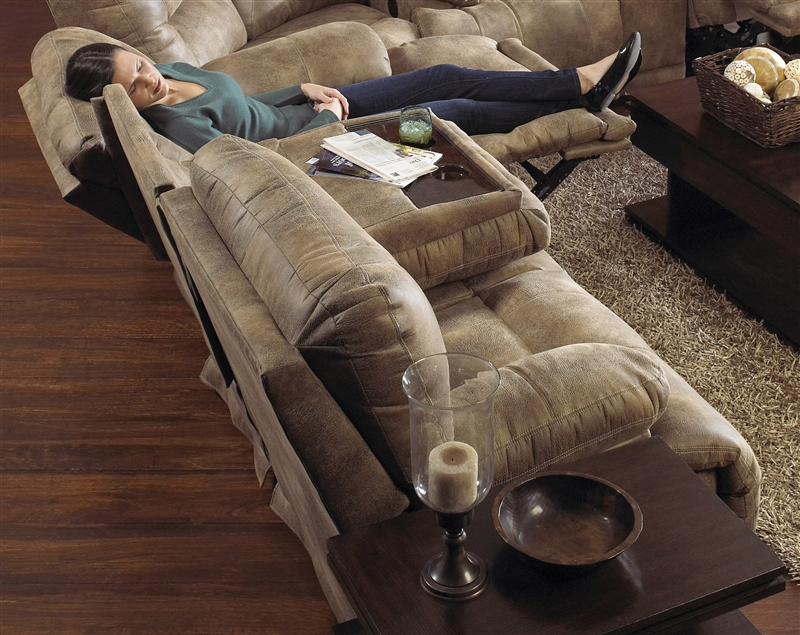 Reclining Sofa With Table Leather Drop