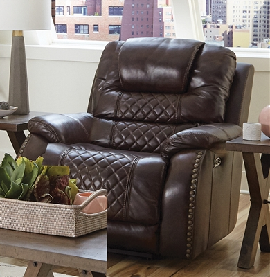 Camilla Power Headrest Power Lay Flat Recliner in Cocoa Leather by Catnapper - 64440-7
