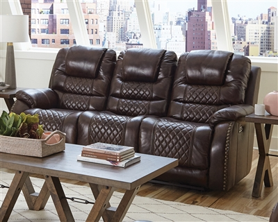 Camilla Power Headrest Power Lay Flat Reclining Sofa in Cocoa Leather by Catnapper - 64441