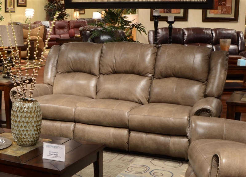Livingston Power Leather Reclining Sofa With Drop Down Table By