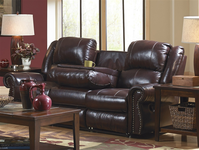 Livingston Power Leather Reclining Sofa With Drop Down