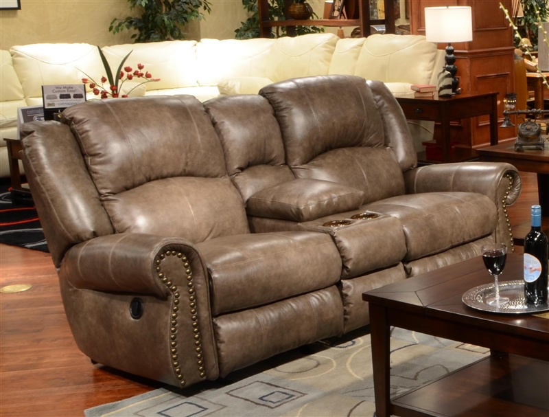 Livingston Power Leather Reclining Console Loveseat By