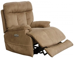 Amos Power Headrest Power Lay Flat Recliner in Camel Fabric by Catnapper - 645627-C