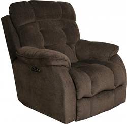 Crowley Power Headrest Power Lay Flat Recliner in Espresso Chenille Fabric by Catnapper - 647727-E