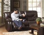 Arlington POWER Reclining Console Loveseat in Mahogany Leather by Catnapper - 64779