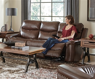 Ceretti Power Reclining Sofa in Brown Leather by Catnapper - 64881