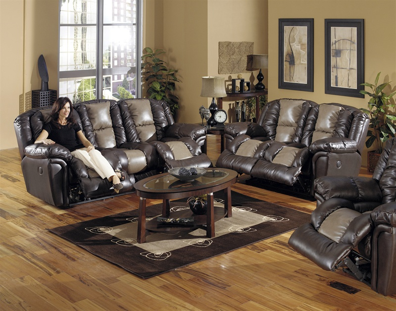 Jaguar 2 Piece Power Reclining Sofa Set in Valentino Two Tone Leather by  Catnapper - 6521-S