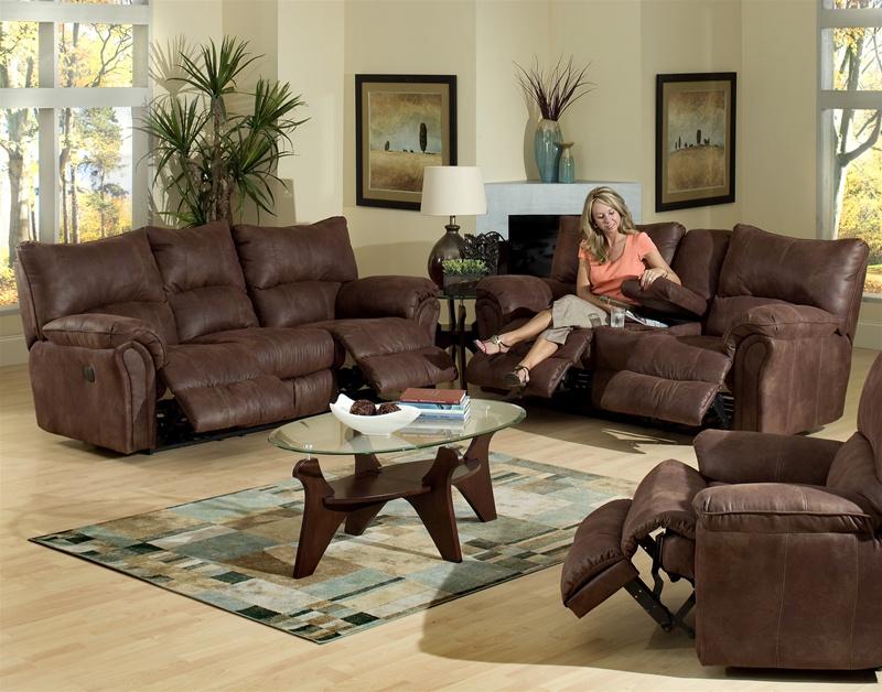 Reclining Sofa Set In Mahogany
