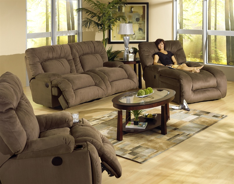 Beau Jackpot 2 Piece Power Reclining Sofa Set In Coffee Microfiber Fabric By  Catnapper   6981 C S