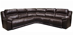 Bergamo 5 Piece Power Lumbar Reclining Sectional in Chocolate Leather by Catnapper - 7418-5