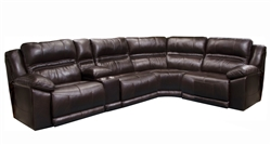 Bergamo 5 Piece Power Lumbar Reclining Sectional in Chocolate Leather by Catnapper - 7418-5PL