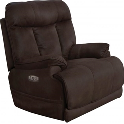 Amos Power Headrest Power Lumbar Power Lay Flat Recliner in Chocolate Fabric by Catnapper - 7645627-CH
