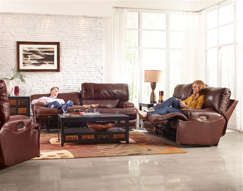 Tremendous Wembley Power Headrest Power Lumbar 2 Piece Lay Flat Power Reclining Sofa Set In Walnut Leather By Catnapper 76458 Set W Bralicious Painted Fabric Chair Ideas Braliciousco