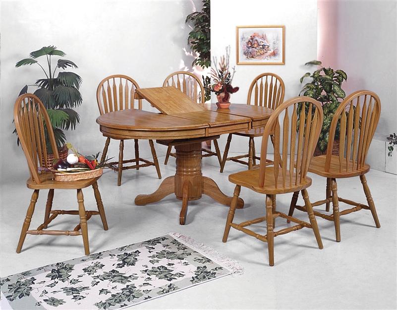 Farmhouse 5 Piece Dining Set In Oak Finish By Crown Mark 1052d