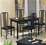Poly 5 Piece Faux Marble Top Dining Set in Black Finish by Crown Mark - 1156