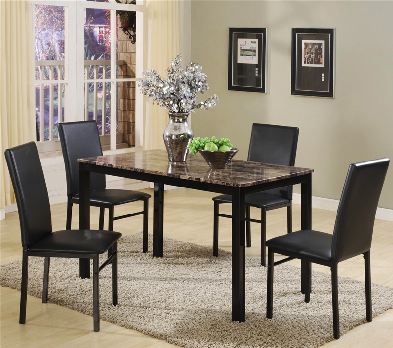 Aiden  Piece Dinette Black Metal and Faux Marble by Crown Mark -