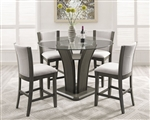 Camelia 5 Piece Counter Height Dining Set in Grey Finish by Crown Mark - CM-1710-RD-GY