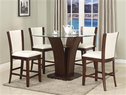 Camelia 5 Piece Counter Height Dining Set in Espresso Finish by Crown Mark - 1710-RD-WH