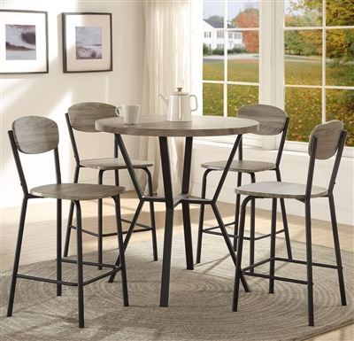 Blake 5 Piece Counter Height Dining Set in Grey Finish by Crown Mark - CM-1730-GY