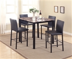 Aiden 5 Piece Counter Height Faux Granite Top Dining Set in Black Finish by Crown Mark - 1817