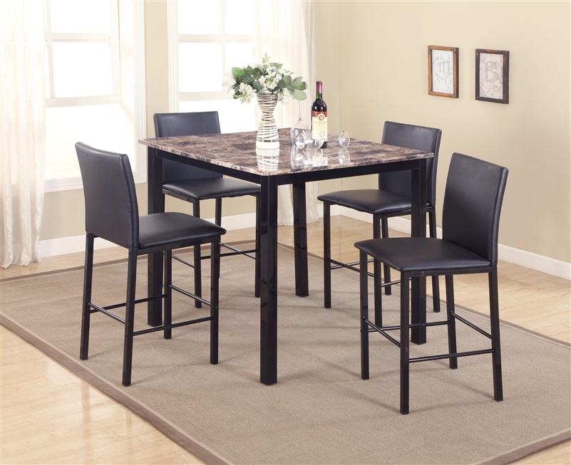 Aiden 5 Piece Counter Height Faux Granite Top Dining Set In Black Finish By  Crown Mark   1817