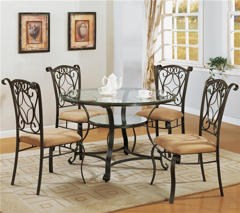 Dining Glass Table Set: Jessica 5 Piece Glass And Metal Dining Set By Crown Mark