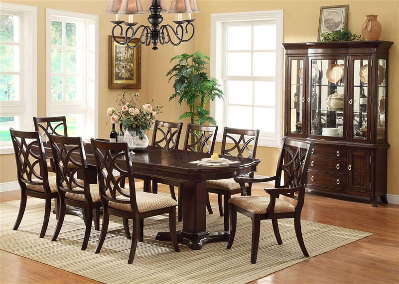 Katherine 7 Piece Dining Set In Dark Cherry Finish By Crown Mark   2020