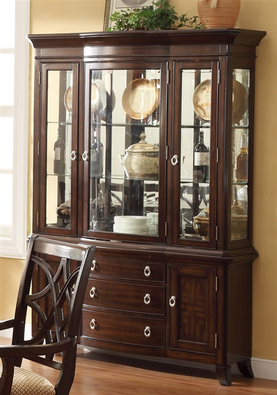 Katherine Buffet And Hutch In Dark Cherry Finish By Crown Mark 2020h Alexander Traditional China Cabinet
