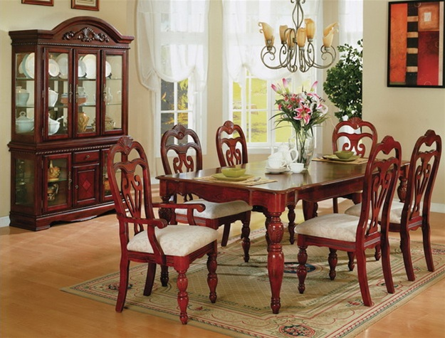 Complete Dining Set in Cherry and Exotic Inlay Woods Finish by Crown ...