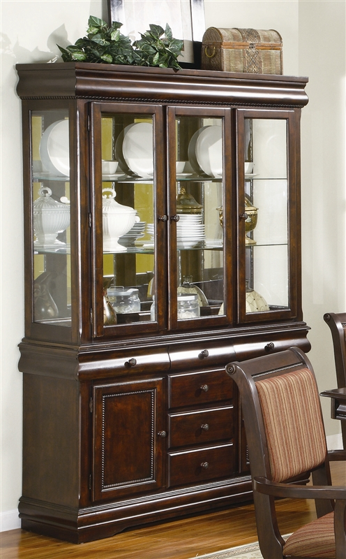 Merlot Buffet And Hutch In Brown Cherry Finish By Crown Mark