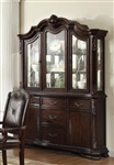 Kiera Buffet and Hutch in Rich Dark Brown Finish by Crown Mark - 2150BH